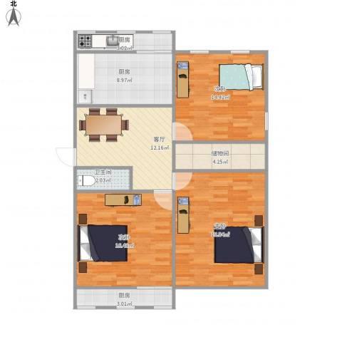 机车工厂九宿舍3室1厅1卫3厨112.00㎡户型图