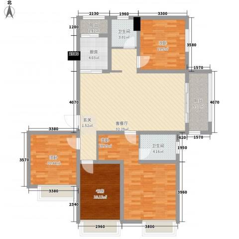 天明城4室1厅2卫1厨143.00㎡户型图