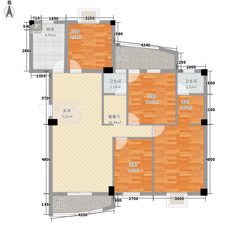 锦华金都132.66㎡D幢楼标准层户型4室2厅2卫1厨