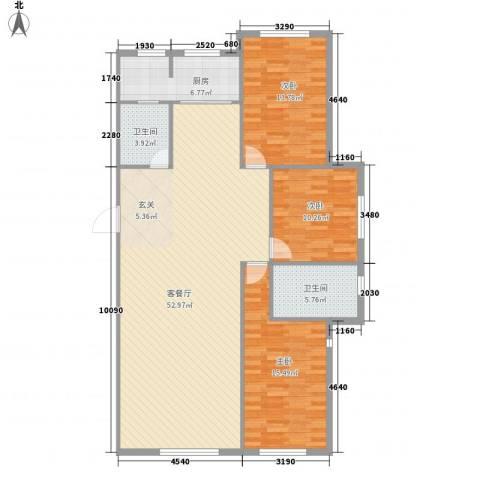 鑫城广场3室1厅2卫1厨147.00㎡户型图