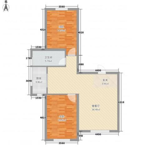 鑫城广场2室1厅1卫1厨76.58㎡户型图