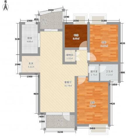 胥江华庭3室2厅1卫1厨118.00㎡户型图