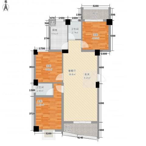 锦华金都3室1厅2卫1厨80.32㎡户型图