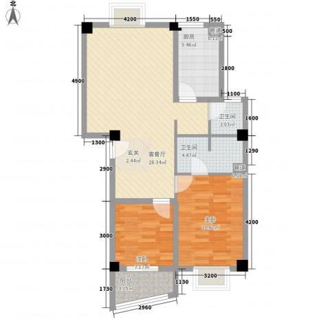 锦华金都2室1厅2卫1厨83.00㎡户型图