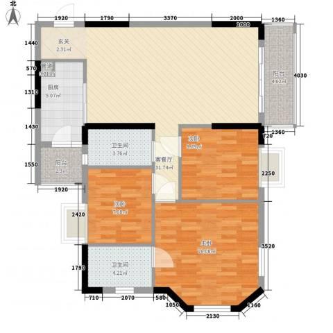 威斯广场3室1厅2卫1厨118.00㎡户型图