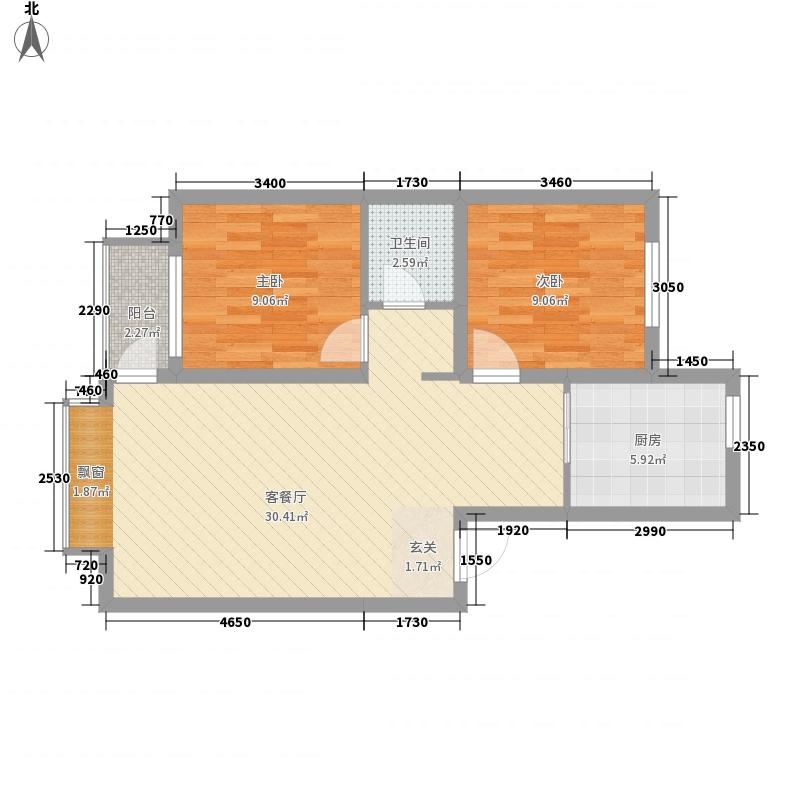 金科托斯卡纳户型2室2厅1卫1厨