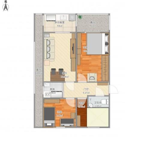 德胜里一区3室1厅1卫1厨72.00㎡户型图