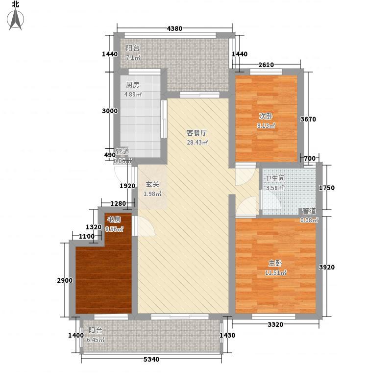 海尚壹品112.00㎡高层7#P1户型3室2厅1卫1厨