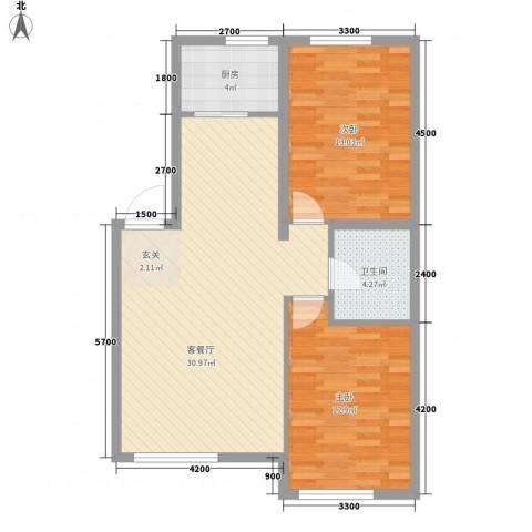 鑫城广场2室1厅1卫1厨65.16㎡户型图