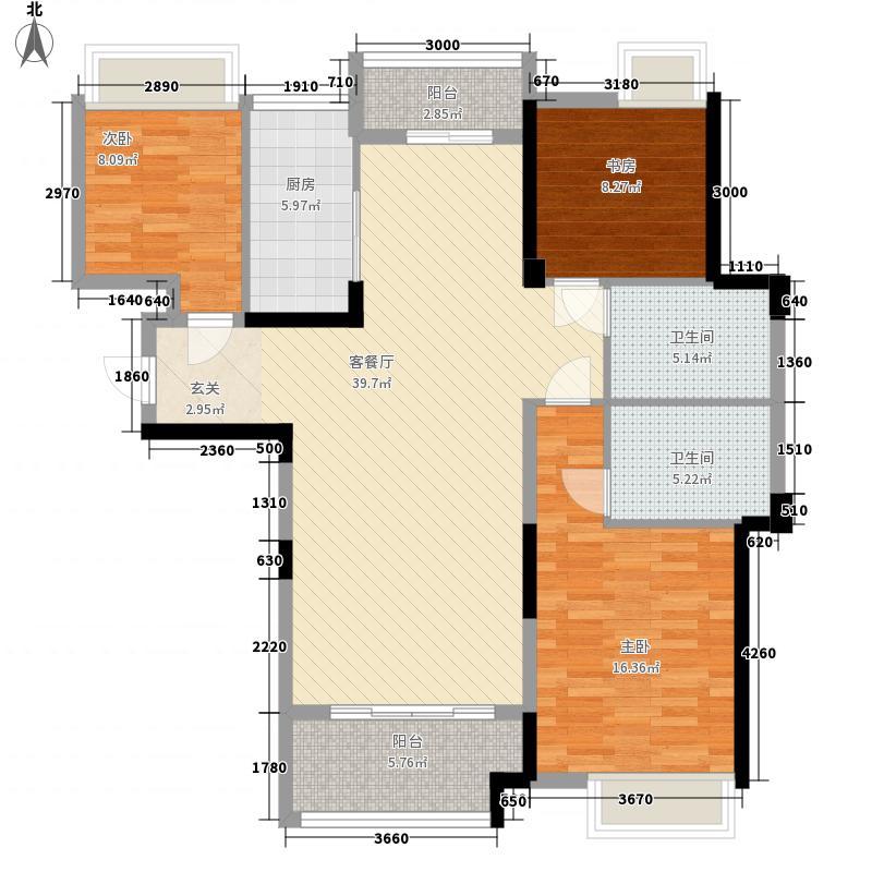 梦想天街1户型3室2厅2卫1厨