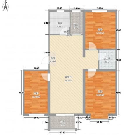 领世郡3室1厅1卫1厨79.68㎡户型图