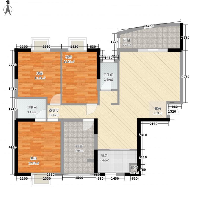三远龙江一号138.00㎡7栋01/03户型3室2厅2卫1厨
