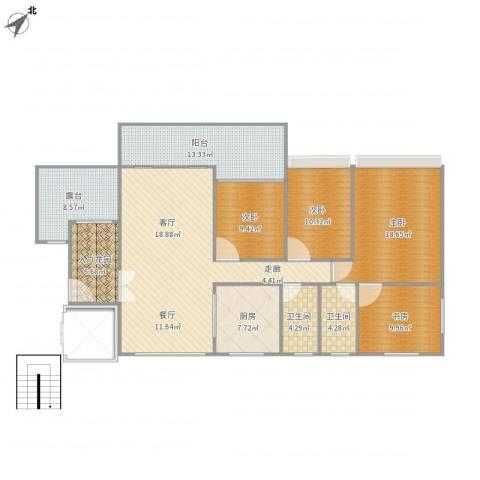 汇景园4室1厅2卫1厨172.00㎡户型图