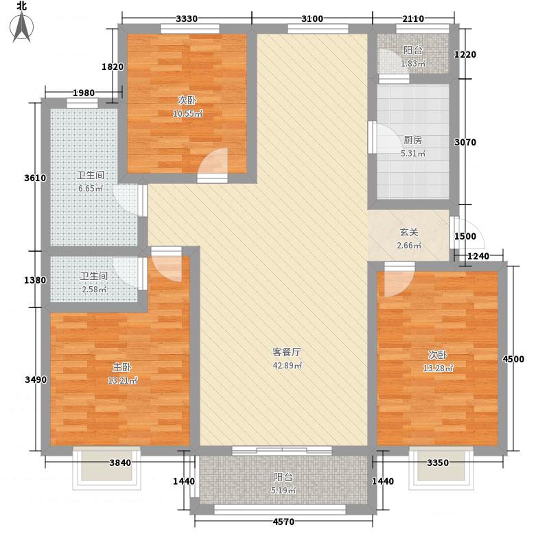 盛世・龙凤花苑126.40㎡D2户型3室2厅1卫1厨