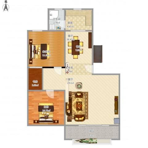 金湖雅苑2室1厅1卫1厨103.00㎡户型图