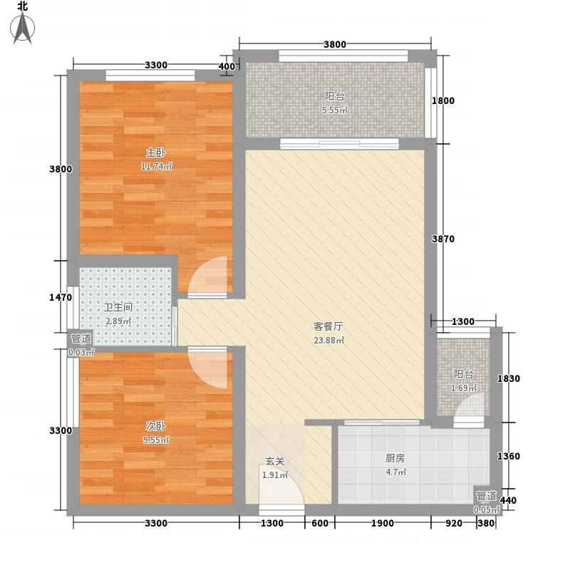 汇鑫・浅水湾广场76.70㎡户型2室2厅1卫1厨