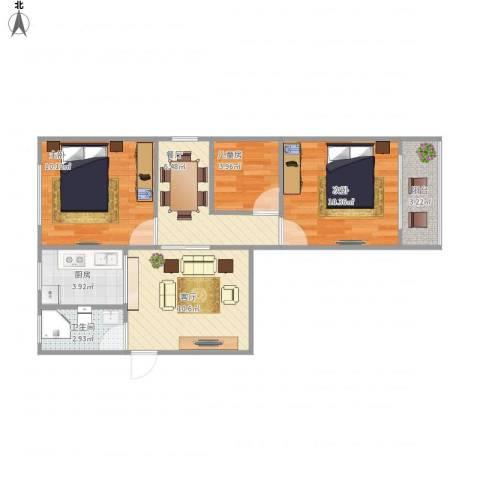双河二村3室2厅1卫1厨71.00㎡户型图