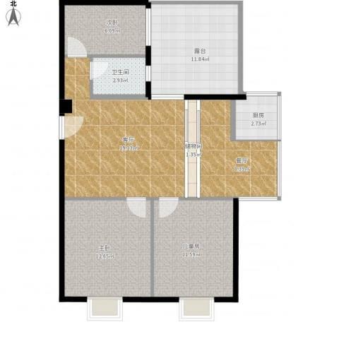 云东小区3室2厅1卫1厨107.00㎡户型图