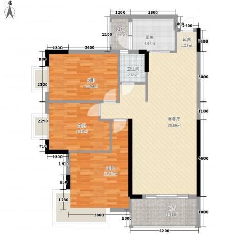丰尚国际3室1厅1卫1厨87.61㎡户型图