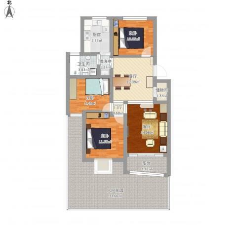 贝越佳园3室3厅1卫1厨161.00㎡户型图
