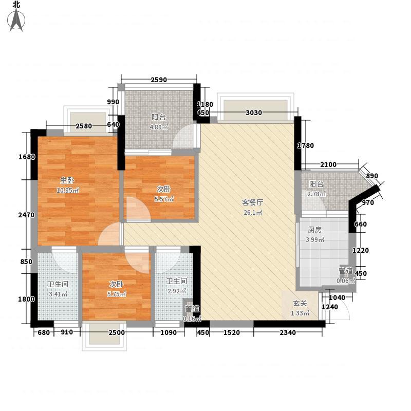 美的简岸花园77.20㎡晴轩5栋四-十八层03单元户型2室2厅1卫