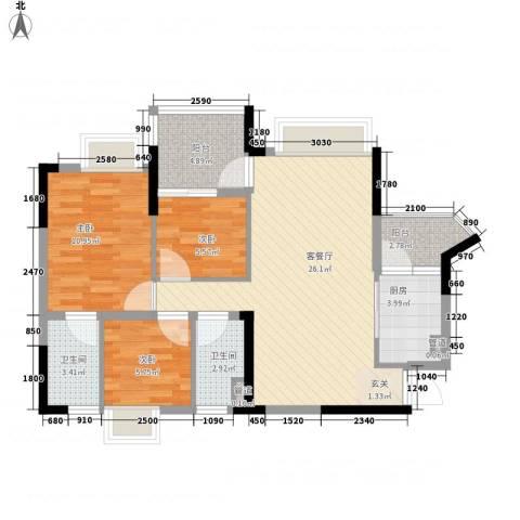 美的简岸花园3室1厅2卫1厨77.00㎡户型图