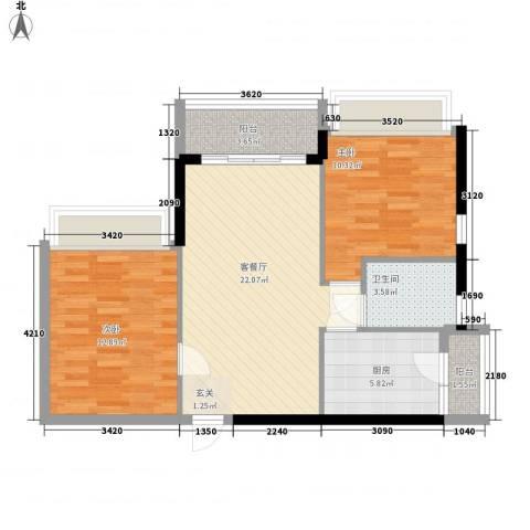 庄士8号2室1厅1卫1厨76.00㎡户型图