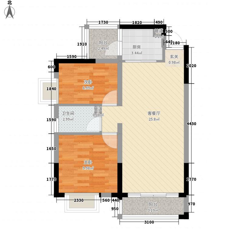 美的简岸花园63.72㎡晴轩5栋四-十八层02单元户型3室2厅1卫