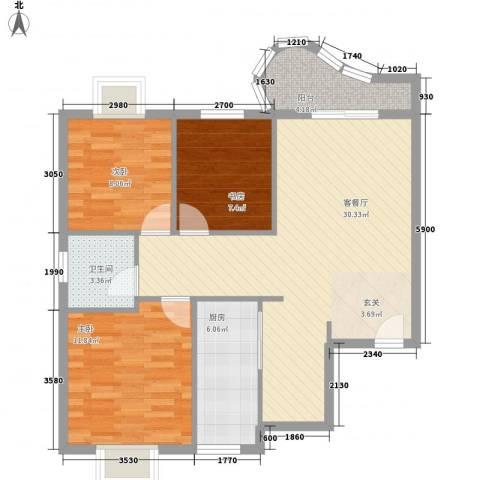 东城100(微笑城堡)3室1厅1卫1厨71.23㎡户型图