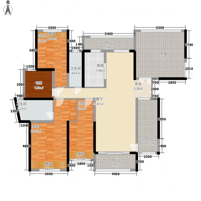 合富花园17.82㎡6#标准层B户平面图户型4室2厅2卫1厨