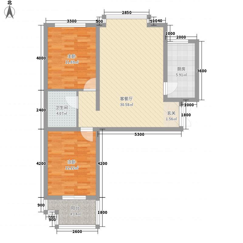吕梁石楼福祥苑85.20㎡户型2室2厅1卫1厨