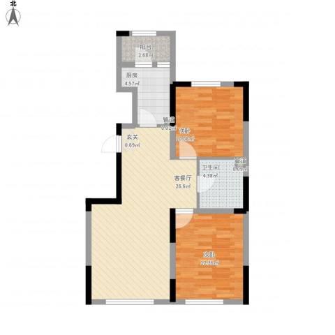 中海凤凰熙岸2室1厅1卫1厨87.00㎡户型图