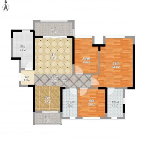 名巨中央花园3室1厅2卫1厨113.00㎡户型图