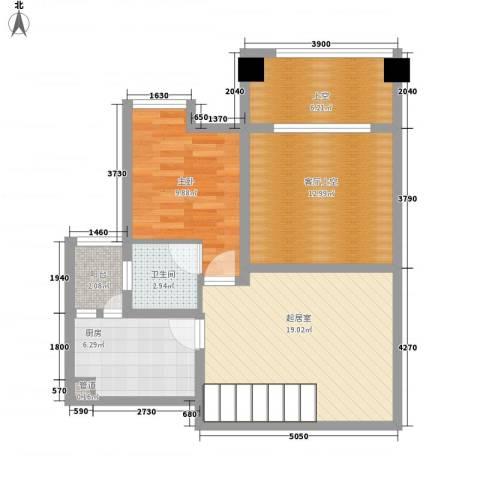 南天・星月国际广场1室0厅1卫1厨59.58㎡户型图