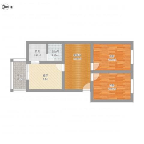 岳麓1号2室1厅1卫1厨81.00㎡户型图