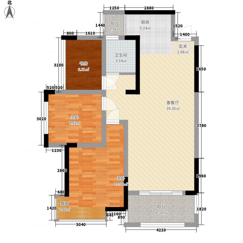 凯旋・湖景水岸1.40㎡3C6C户型3室2厅1卫1厨