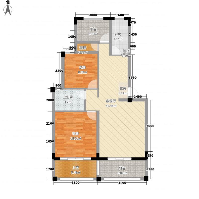金厦・银湖城88.00㎡E户型2室2厅1卫1厨