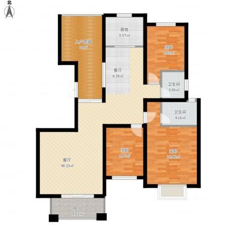金桥普林斯顿3室1厅2卫1厨152.00㎡户型图