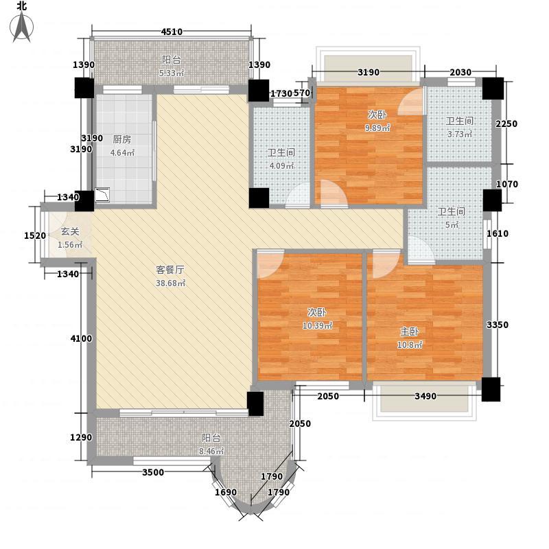 金门海景山庄144.38㎡5#楼03单元户型3室2厅2卫1厨