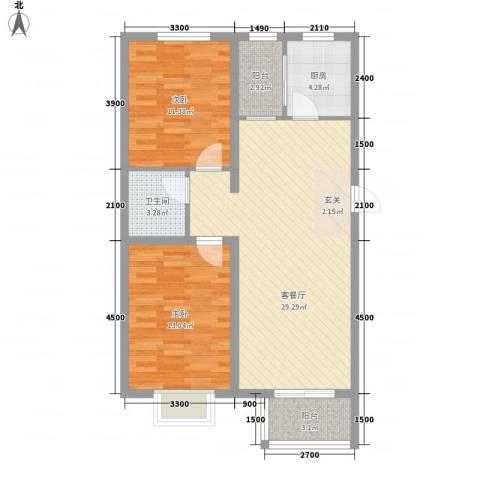 领世郡2室1厅1卫1厨67.27㎡户型图