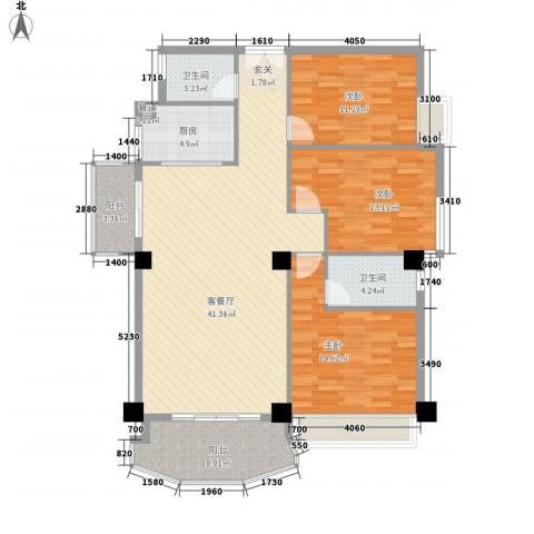 金门海景山庄3室1厅2卫1厨145.00㎡户型图