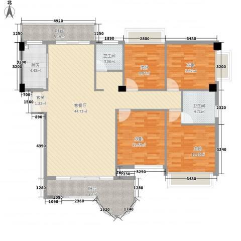 金门海景山庄4室1厅2卫1厨155.00㎡户型图