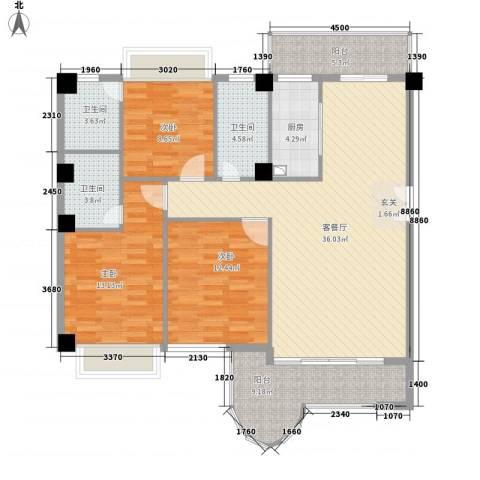 金门海景山庄3室1厅3卫1厨142.00㎡户型图