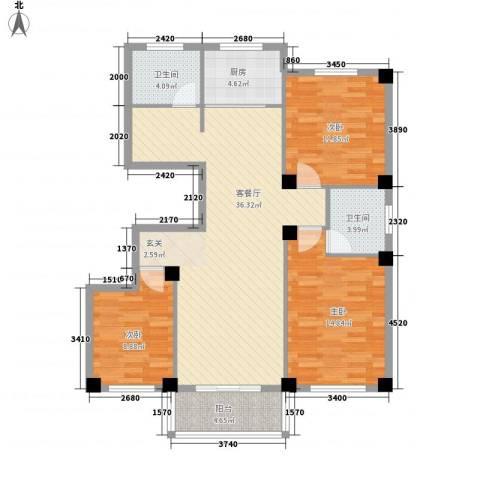 府锦花园3室1厅2卫1厨126.00㎡户型图