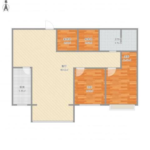 前进花园牡丹苑2室1厅3卫1厨108.00㎡户型图