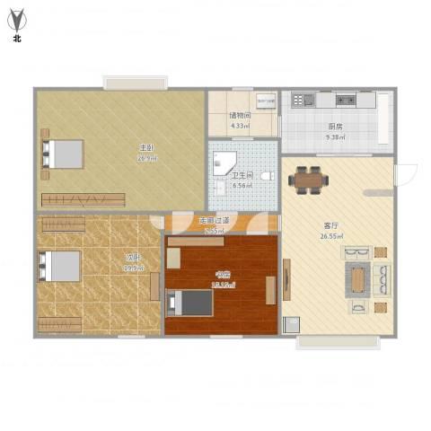 财富大厦3室1厅1卫1厨148.00㎡户型图