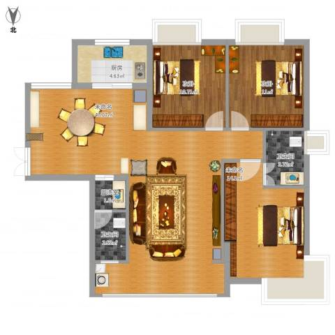 竹园新城2室1厅2卫1厨132.00㎡户型图