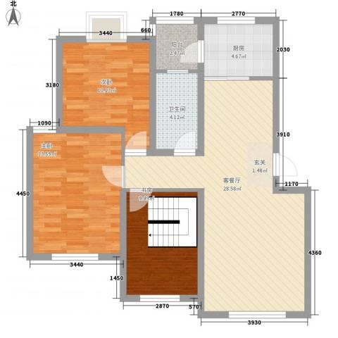 春江花园3室1厅1卫1厨83.60㎡户型图