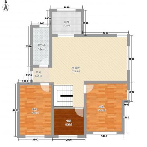 春江花园3室1厅1卫1厨89.00㎡户型图