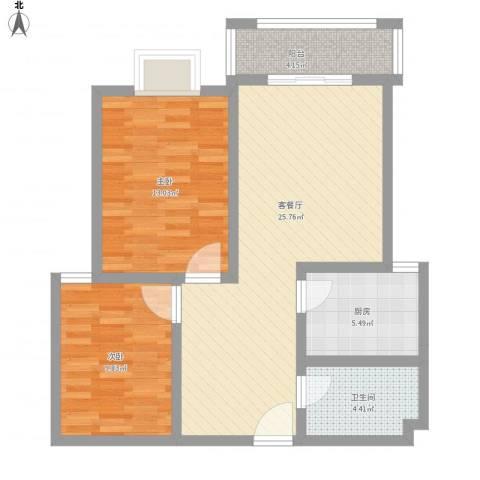 汇通新城2室1厅1卫1厨91.00㎡户型图